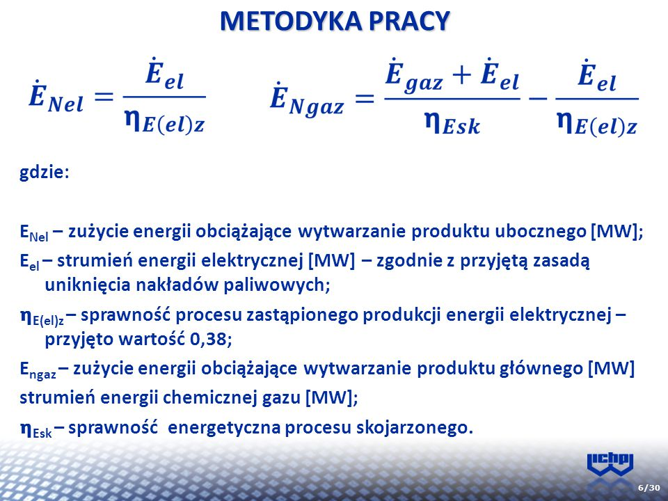 METODYKA PRACY gdzie: ENel – zużycie energii obciążające wytwarzanie produktu ubocznego [MW];